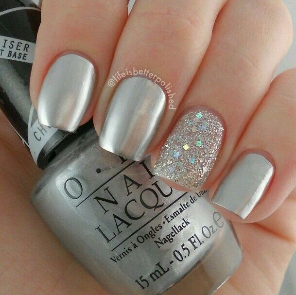 Silver and Glitter Nail Designs