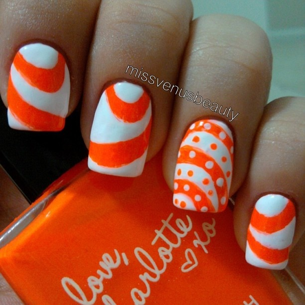 White and Orange Nail Designs