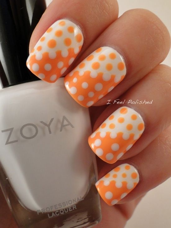 White and Orange Spotted Nail Designs