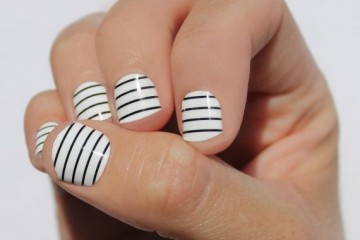 black and white thin striped nails