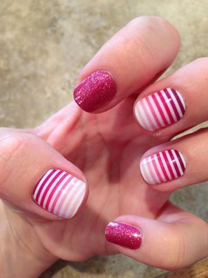 fuscia and venus striped nails