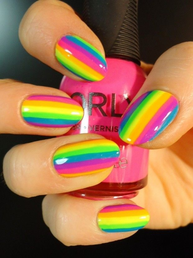 multi-colored striped nail design