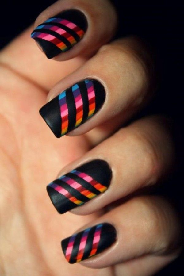 multi-colored striped nails