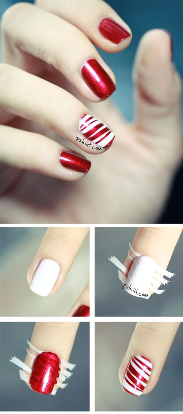 red and white striped nails with striping tape
