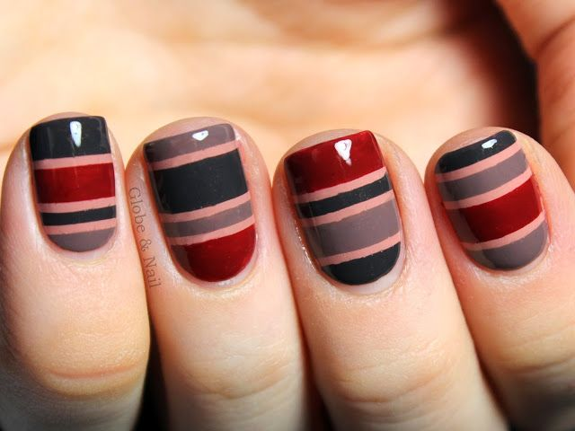 red nad grey striped nail design