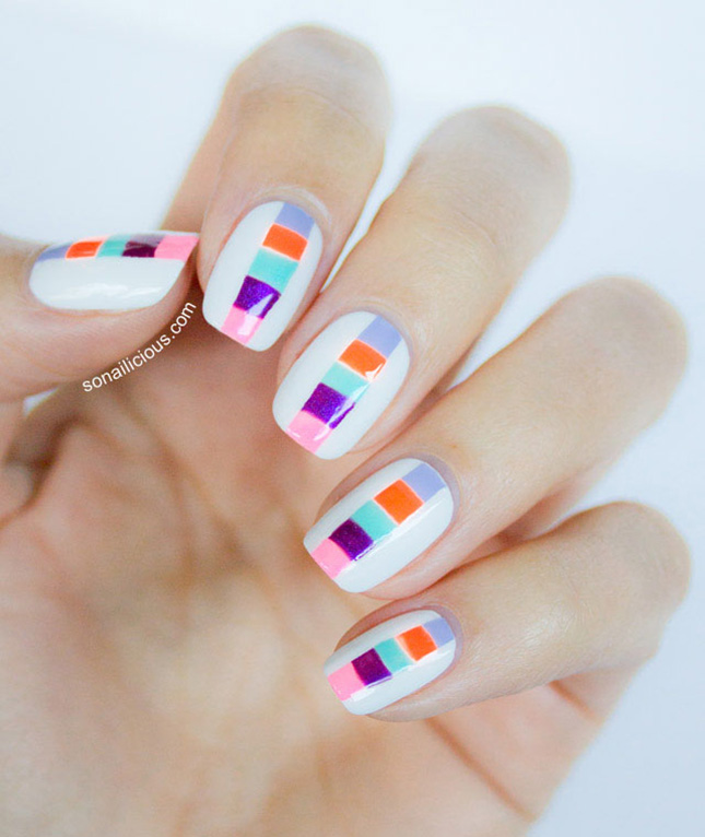 stripe block colors nail design