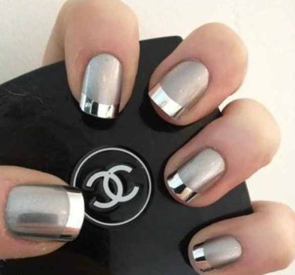 Sleek-tips-metallic-nails