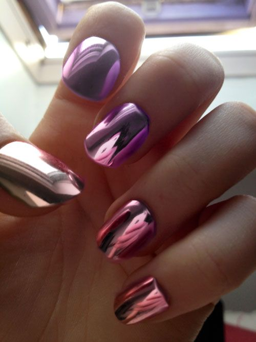 different colored metallic nail polish