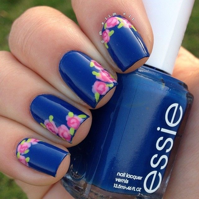 Elegant Floral Nail Designs In Blue Nail Designs For You