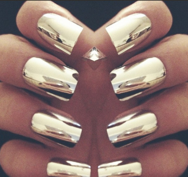gold metallic nail polish designs