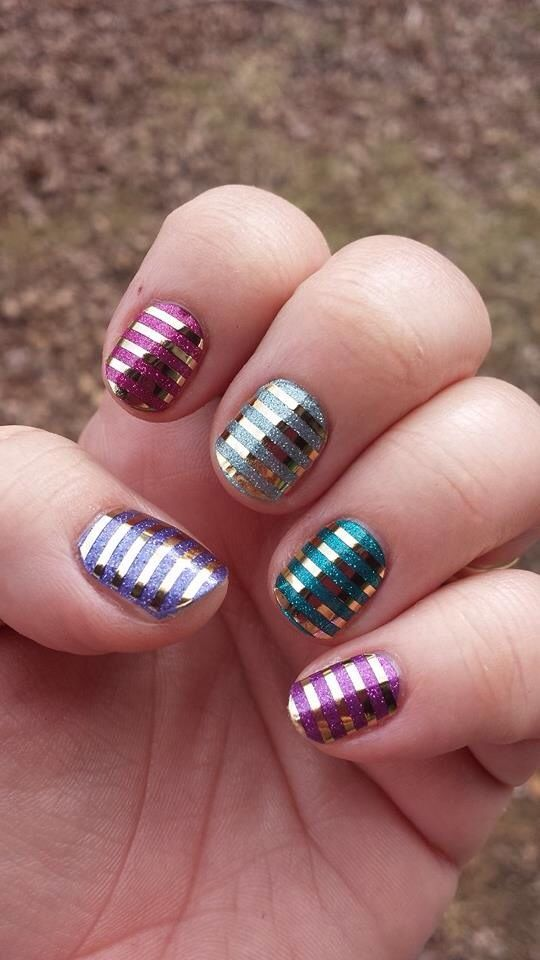 metallic striped nail design
