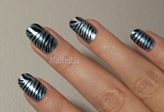 metallic zebra nail art