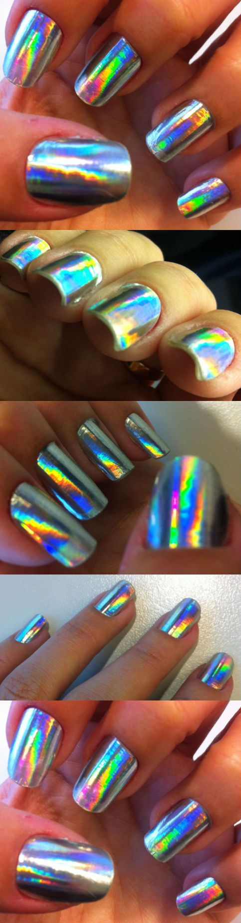 multi-colored effect metallic nail polish designs