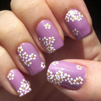 Purple Nails With Daisy Floral Design Nail Designs For You