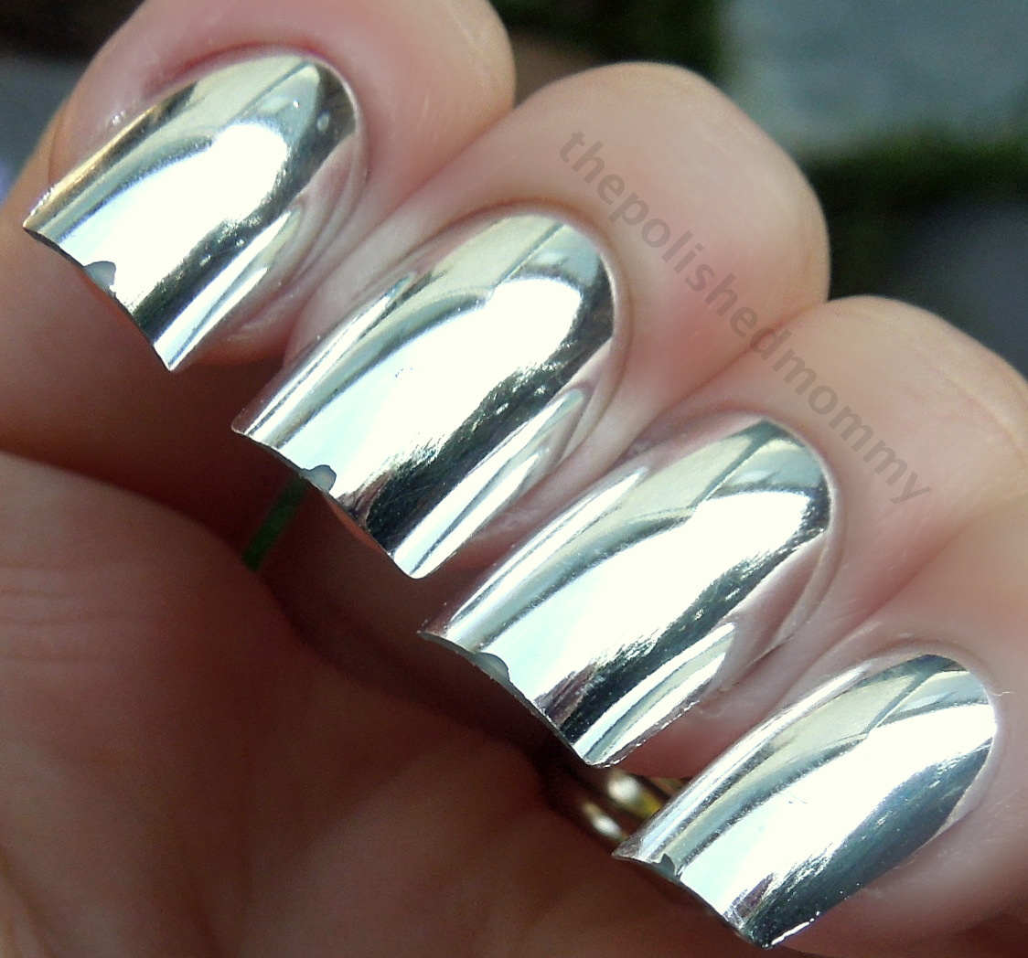 silver metallic mirror nail polish design
