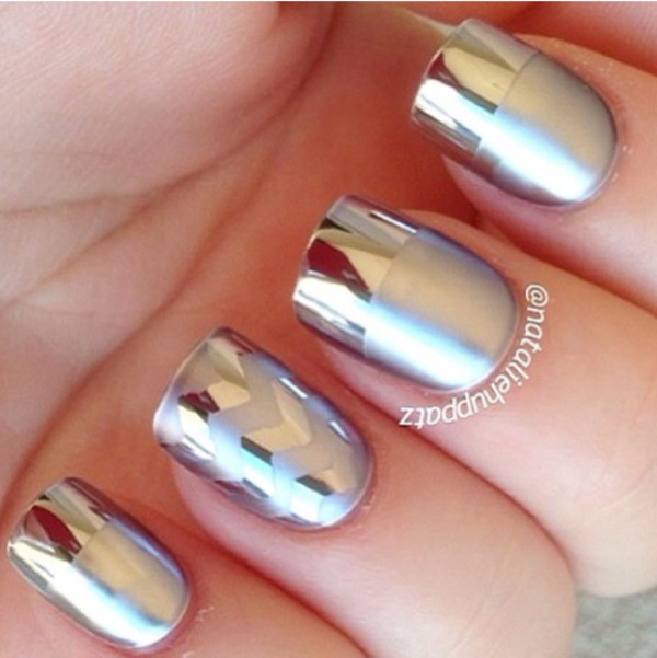 silver metallic nail polish designs
