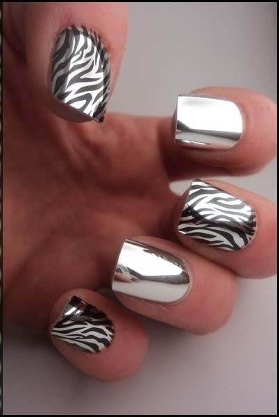 zebra metallic nail design polish